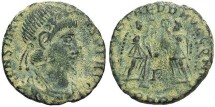 Ancient Coins - Constans. A.D. 337-350. Æ 13 mm. Arelate. VF, dusty earthen green patina.