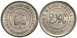 World Coins - Colombia. 1881. 2 1/2 centavos. BU.