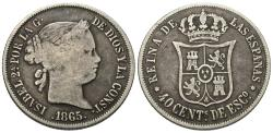 World Coins - Spain. Isabel. 1865. 40 centimos. Good.