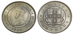 World Coins - Jamaica. George V. 1934. 1 farthing. Gem BU, exceptional strike and fantastic luster.