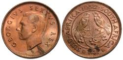 World Coins - South Africa. George VI. 1952. 1/4 penny. Gem BU, lamination flaws. Error coin.