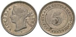 World Coins - Straits Settlements. Victoria. 1897-H. 5 cents. Good VF.