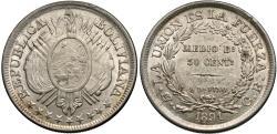 World Coins - Bolivia. 1891-PTS CB. 50 centavos. AU.