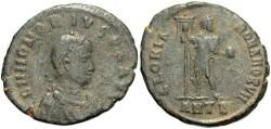 Ancient Coins - Honorius. A.D. 393-423. Æ. Antioch. Fine, dark green patina with earthen deposits.