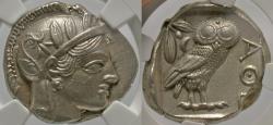 Ancient Coins - Attica, Athens. Ca. 449-404 B.C. AR tetradrachm. NGC Ch AU, strike: 4/5, surface: 3/5, brushed.