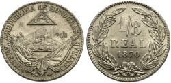 World Coins - Honduras. 1870-A. 1/8 real. Gem BU.