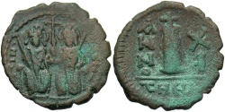 Ancient Coins - Justin II. 565-578. Æ decanummium. Antioch, regnal year 11 (575/6). VF, brown and green patina.