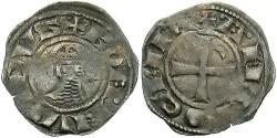 World Coins - Principality of Antioch. Bohemond III. 1163-1201. BI denier. Darkly toned, crude VF.