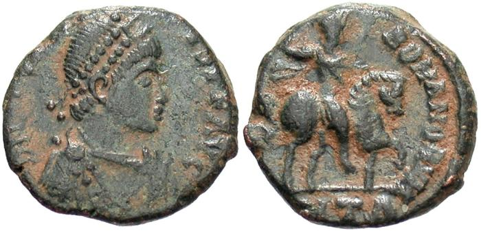Ancient Coins - Arcadius. A.D. 383-408. Æ. Antioch. VF, dark green patina with earthen highlights.