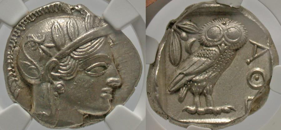 Ancient Coins - Attica, Athens. Ca. 449-404 B.C. AR tetradrachm. NGC Ch AU, strike: 4/5, surface: 3/5, brushed.