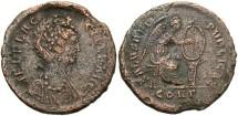 Ancient Coins - Aelia Flaccilla. Augusta, A.D. 379-386/8. Æ. Constantinople. VF, porous brown surfaces.