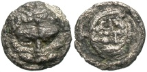 Ancient Coins - Bruttium, Rhegion. Ca. 510 B.C. AR obol. Fine, porous, small edge chips.
