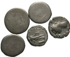 Ancient Coins - [Miscellaneous] Lot of five denarii. The Antony denarii very worn, the other two Fine.