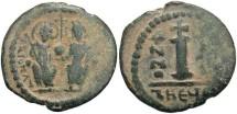 Ancient Coins - Justin II. 565-578. Æ decanummium. Antioch. Near VF, desert green patina.