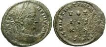Ancient Coins - Constantine I. A.D. 307/10-337. Æ follis. Siscia, A.D. 320. VF, green patina, some roughness. Scarce type.