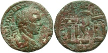 Ancient Coins - Phoenicia, Berytus. Elagabalus. A.D. 218-222. Æ. Near VF, mottle brown and green patina, pit on obverse.
