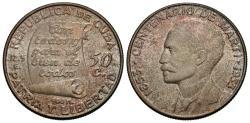 World Coins - Cuba. 1953. 50 centavos. Centennial - Birth of Jose Marti. Unc., toned.