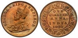 World Coins - British India. George V. 1930-(b). 1/4 anna. Choice Unc.