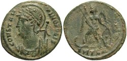 Ancient Coins - Commemorative Series. A.D. 330-354. Æ follis. Thessalonica. VF, earthen green patina.