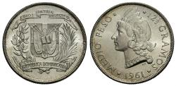 World Coins - Dominican Republic. 1961. 1/2 peso. Choice BU, nearly pristine surfaces exhibiting strong cartwheel luster.