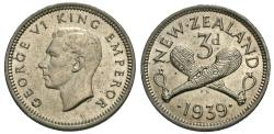World Coins - New Zealand. George VI. 1939. 3 pence. BU.