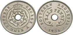 World Coins - Southern Rhodesia. George V. 1934. 1/2 penny. Gem BU, strong luster.