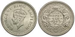 World Coins - British India. George VI. 1945-(b) (small 5). 1 rupee. BU.