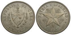World Coins - Cuba. 1934. 1 peso. AU.