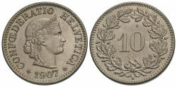 World Coins - Switzerland, Confederation. 1907-B. 10 rappen. Unc.