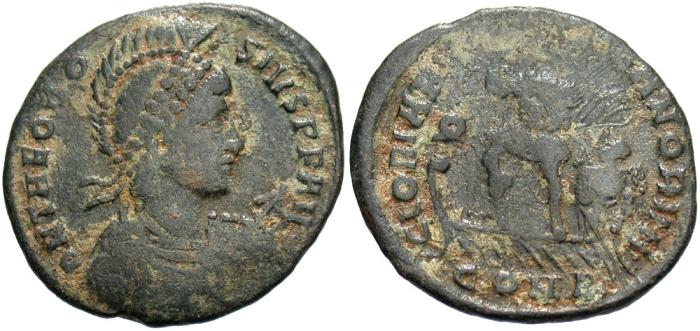 Ancient Coins - Theodosius I. A.D. 379-395. Æ. Constantinople. Near VF, dark green patina.