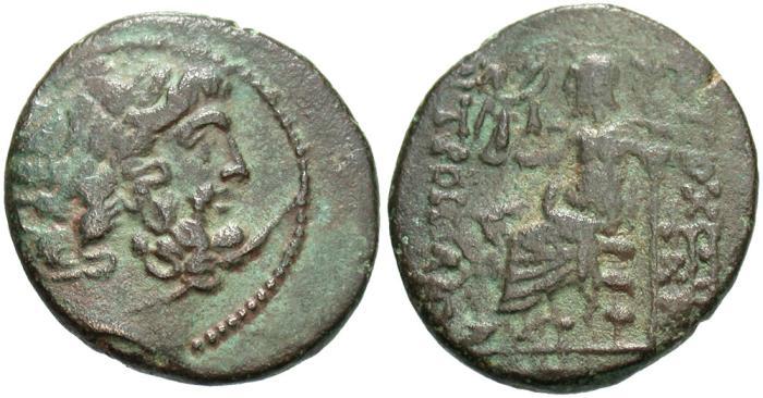 Ancient Coins - Syria, Seleucis and Pieria. Antiochia ad Orontem. Pseudo-autonomous issue. 1st century B.C. Æ tetrachalkon. VF, green patina.