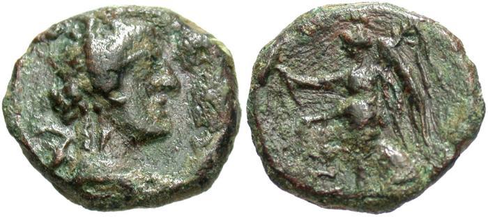 Ancient Coins - Syria, Coele-Syria. Chalkis ad Libanon. Ptolemaios. Tetrarch, ca. 85-40 B.C. Æ. S.E. 240 (73/2 B.C.). VF, green patina. Scarce.