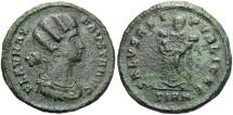 Ancient Coins - Fausta. Augusta, A.D. 324-326. Æ follis. Sirmium. Near VF, dark brown patina, minor roughness.