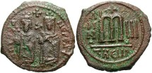 Ancient Coins - Phocas. 602-610. Æ follis. Theoupolis (Antioch), regnal year 3 (604/5). VF, rough brown and green patina.
