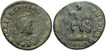 Ancient Coins - Valentinian II. A.D. 375-392. Æ. Constantinople. VF, dark green patina.