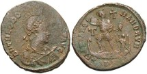 Ancient Coins - Theodosius I. A.D. 379-395. Æ. Antioch. VF, brown patina, some flatness.