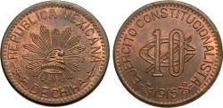 World Coins - Mexico (Revolutionary), Chihuahua. 1915. 10 centavos. Unc., red and brown.