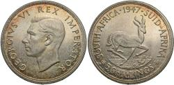 World Coins - South Africa. George VI. 1947. 5 shillings. Unc, subtle golden tones around the peripheries and superb luster, minimal contact marks.