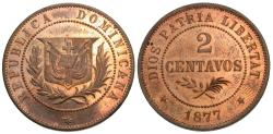 World Coins - Dominican Republic. 1877. Essai 2 centavos. Proof Unc., 85% red.