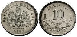 World Coins - Mexico, Second Republic. 1889-GoR/HoG. 10 centavos. Gem BU, rare reengraved mintmark.