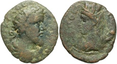 Ancient Coins - Syria, Coele-Syria. Heliopolis. Septimius Severus. A.D. 193-211. Æ. Fine, brown and green patina.