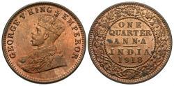 World Coins - British India. George V. 1918-(c). 1/4 anna. Unc.