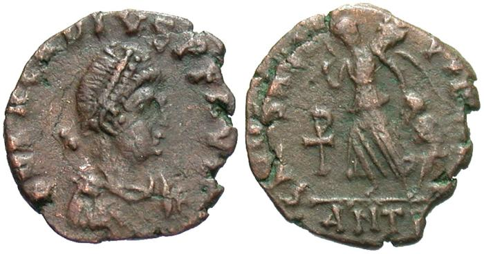Ancient Coins - Arcadius. A.D. 383-408. Æ. Antioch. VF, brown patina.