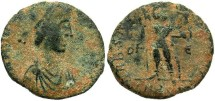 Ancient Coins - Arcadius. A.D. 383-408. Æ 15 mm. Rome. Fine, dark brown patina with earthen deposits. Scarce.