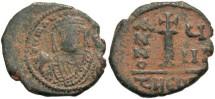 Ancient Coins - Maurice Tiberius. 582-602. Æ decanummium. Antioch. Near VF, earthen dark brown patina.