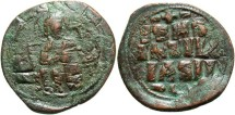 Ancient Coins - Anonymous (attributed to Constantine IX). Ca. 1042-1055. Æ follis. Constantinople. Near VF, brown and green patina, overstruck.