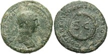 Ancient Coins - Syria, Seleucis and Pieria. Antiochia ad Orontem. Trajan. A.D. 98-117. Æ semis. Rome, for circulation in Syria, A.D. 116. Fine, green patina, deposits.