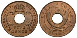 World Coins - East Africa. George VI. 1941-I. 5 cents. Choice Unc., red and brown.