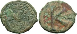 Ancient Coins - Maurice Tiberius. 582-602. Æ 1/2 follis. Antioch (Theoupolis), regnal year 13 (594/5). VF, green patina, deposits and flaking on reverse.
