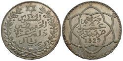 World Coins - Morocco. 'Abd al-Hafiz. AH 1329-Pa (1911). 1 rial. AU.